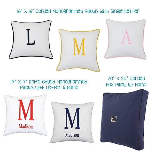 Monogrammed Pillows for Kids