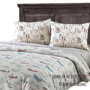 """Jacob"" Vintage Airplane Tailored Bunk Bed Comforter"