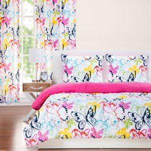 """Flutterby"" Butterfly Zipper Comforter with Sham – Bunk Bed Bedding Set"