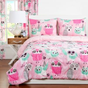 """Night Owl"" Zipper Comforter with Sham – Bunk Bed Bedding Set"