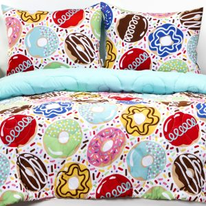 """Sweet Dreams"" Donut Zipper Comforter with Sham – Bunk Bed Bedding Set"