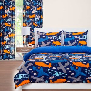 """Take Flight"" Airplane Zipper Comforter with Sham – Bunk Bed Bedding Set"