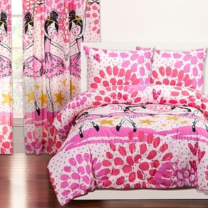 """Twinkle Toes"" Ballerina Zipper Comforter with Sham – Bunk Bed Bedding Set"