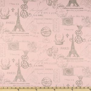 Paris French in Pink & Gray Fitted Hugger Comforter