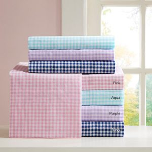 Gingham Print Inseparable Sheet Set – 100% Cotton Percale 180TC