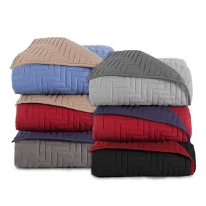 Solid Two-Color Fitted Microfiber Coverlet